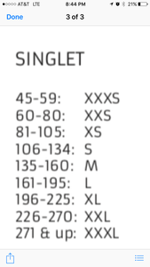 Sizing Chart for all Singlets